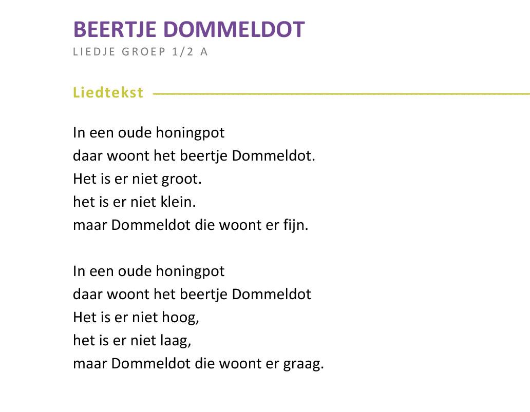 Favoriete Liedtekst-Beertje-Dommeldot-  #DK75